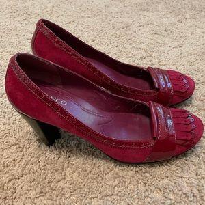 Franco Sarto Fuchsia Pink Suede Tassle Heels